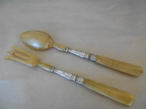 Old french SALAD SERVERS  Horn + collar Silverplated Fork and Spoon