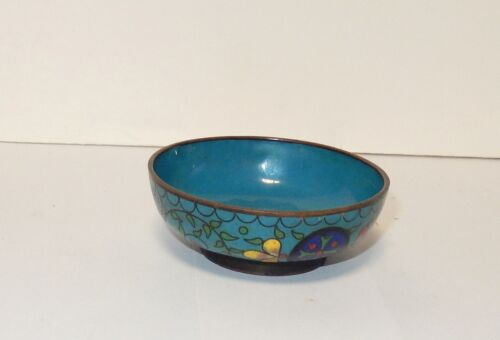 OLD SMALL CHINESE FLORAL CLOISONNE BLUE ENAMEL BOWL
