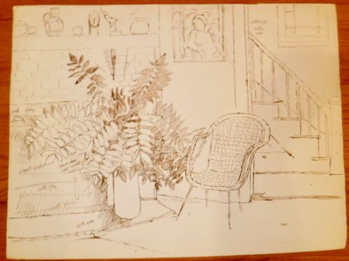 Interior With Plant,fireplace & Stairs 19 X 26 Ink Drawing-1969-august Mosca