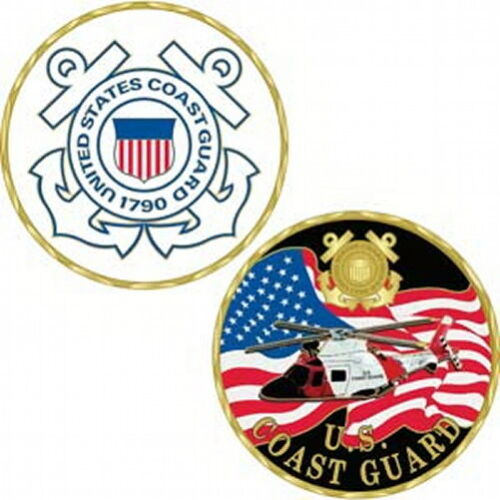 "United States Coast Guard CHALLENGE COIN 1 5/8"" Helicopter/US Flag/USCGCoast Guard - 66530"