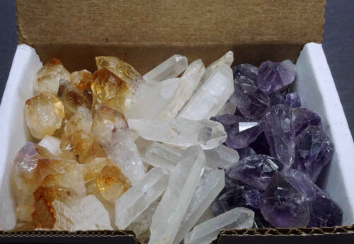 3 Crystal Collection 1/2 Lb Lots Natural Points Amethyst Quartz Citrine