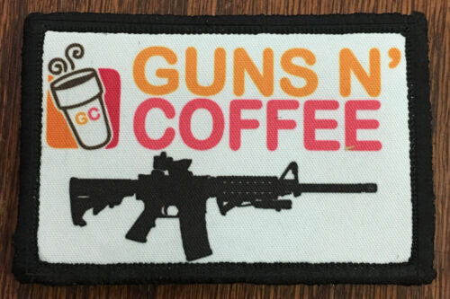 Tactical Guns and Coffee Morale Patch Funny Military Army Hook Flag DunkinArmy - 48824
