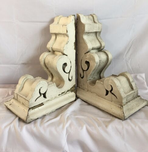 1890's Antique Pair(2) Wood Corbels Brackets Victorian Gingerbread Chic White F1