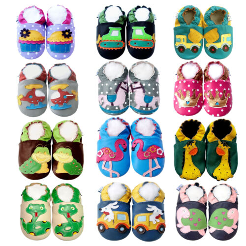 41239abce978 Soft Sole Leather Baby Shoes Boy Girl Infant Toddler Jinwood Crib Booties  0-3Y