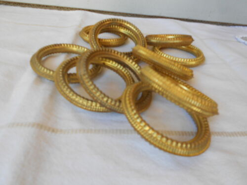 12 Antique French Gilded tole Brass Curtain Drape Hanging Rings