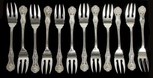 SET OF 12 DOMINICK & HAFF  1894 CHARLES II STERLING SILVER FISH FORKS