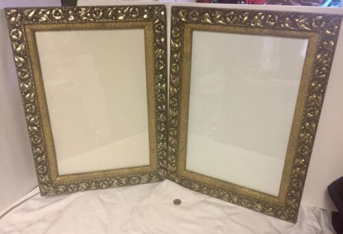 "2 Antique Picture Frames Ornate Emb."" Morning Glory's"" Silver& Gold 22""x16"""