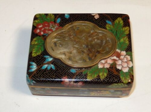 OLD 19TH CENTURY CHINESE BLACK FLORAL CLOISONNE ENAMEL JADE HUMIDOR JAR BOX