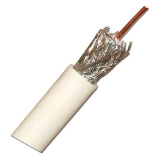 1000ft RG6 Single Coax, Solid Copper, UL, White