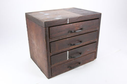 Primitive Small Wooden Chest 4-Drawer Tool Parts Cabinet Rustic Solid Wood