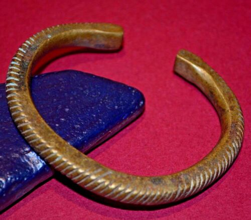 Antique African Tribal Brass Yoruba Bracelet Metal Currency Nigeria Africa
