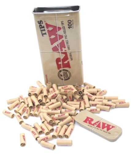 RAW Slide Tin Pre rolled Tips - New - Authentic 100 Tips Chlorine Free - NEW