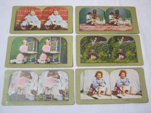 Antique Stereo View Card Lot with Children Playing     T*