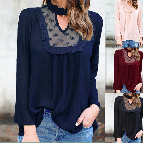 Fashion Women Loose Top Lace Long Sleeve T-Shirt Blouse Ladies Casual Tops