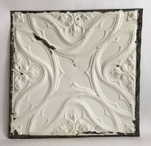 """1890's 24"""" x 24"""" Antique Reclaimed Tin Ceiling Tile  White C55a Metal"""