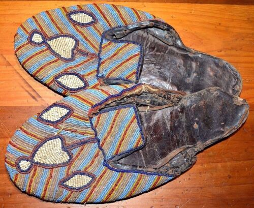 Antique African Yoruba Tribe Beaded Noble Man's Bata Ileke Shoes Nigeria, Africa