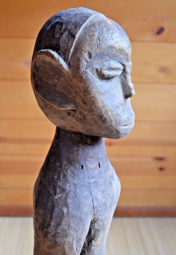 Antique Pende Standing Tribal Male Ancestor Carved Wood Statue House Post Africa
