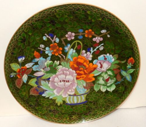 CHINESE CLOISONNE GREEN ENAMEL FLOWER BASKET DESIGN PLATE