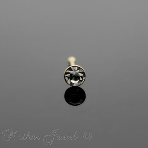 22G GENIUNE SOLID 9K YELLOW GOLD 2.5MM ROUND CRYSTAL DIAMONTE BALL NOSE STUD