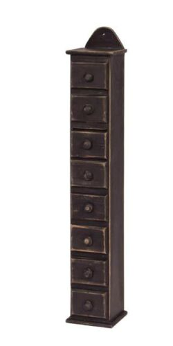 New Farmhouse Primitive Colonial Black SPICE BOX Wood Drawer Rack