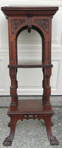 Antique Victorian Aesthetic Eastlake Lion Paw Pedestal Tier Carved Mahogany Feet