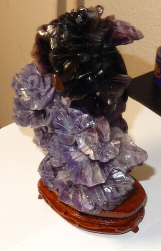 RARE AMETHYST AND JADE STONE BLOSSOM TREE JAR BOX WITH WOOD STAND