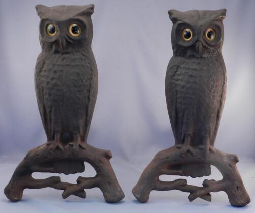 Antique~Vintage c1900 Owl Andirons~SIGNED~Arts & Crafts Period~Glass Eyes~VGC