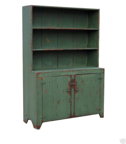 PRIMITIVE EARLY AMERICAN STEP BACK HUTCH CABINET PAINTED FARMHOUSE CUPBOARD PINE
