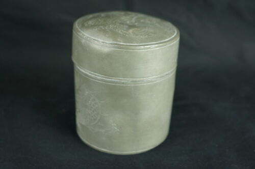 "Outstanding Antique chinese pewter tea caddy 4"" [Y8-W6-A9-E9]"