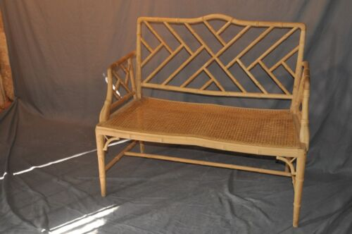 Hollywood Regency Style Faux Bamboo Settee