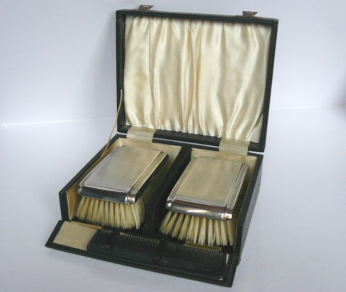 SILVER STERLING 1963 MAPPIN & WEBB B'HAM HM CLOTH BRUSHES GROOMING SET CASE EXC