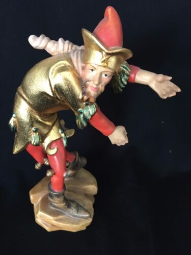 VTG GERMAN BLACK FOREST HAND CARVE WOOD Jester Dancing Max Kagerbauer Zwiesel