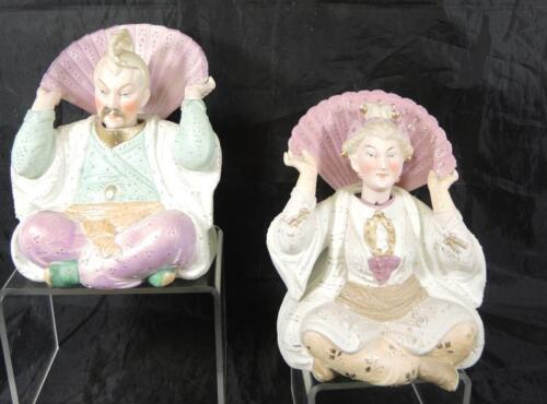 Pair of Colorful Antique 1910 Era German Bisque Oriental Asian Nodders