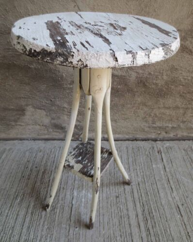 Vintage Rustic Folk Art Side Table w/ Hand Carved Tapered Legs