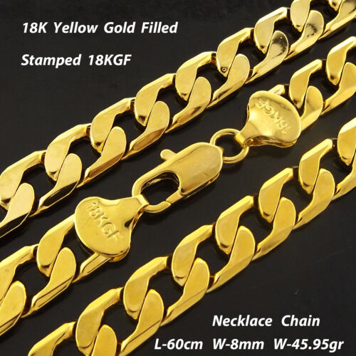 """Mens Gold Necklace Chain Real 18k Yellow G/F Solid Heavy Curb Bling Link 24""""60cm"""