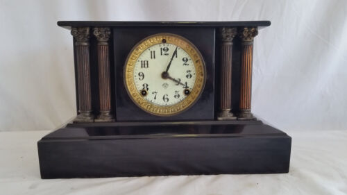 Antique Ansonia Black Steel Cased Column Mantle Clock,Spring wound Pendulum