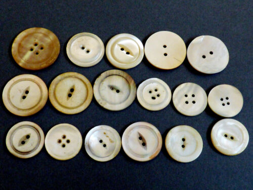 Vintage Antique lot of 17 Large & Medium size Mother of Pearl carved buttons