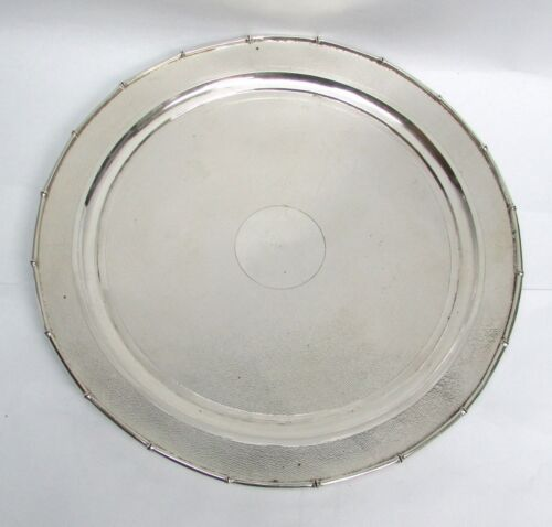 "VINTAGE SILVER CHINESE EXPORT BAMBOO RIM 11"" PLATTER CHARGER"