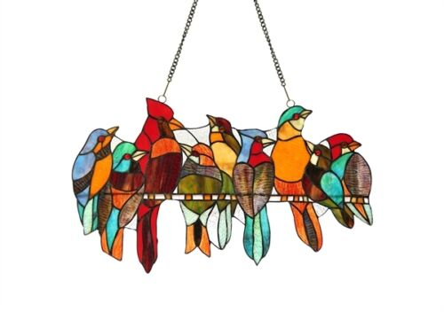 "Birds On A Wire Stained Glass Window Panel Suncatcher 21.5"" Long x 13"" High"