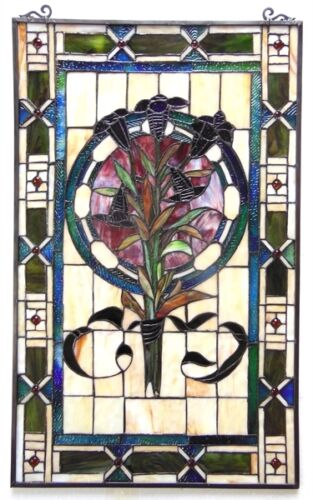 "Tulip Design Tiffany Style Stained Glass Window Panel  20"" Wide x 32"" Tall"