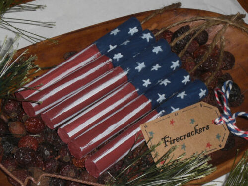 6 Primitive Red White Blue Wooden July 4 Patriotic Firecrackers Bowl Fillers