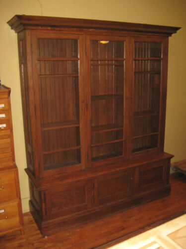 WeShip 3 Door Oak Store Cabinet China Bookcase Gun Museum Display Kitchen Pantry