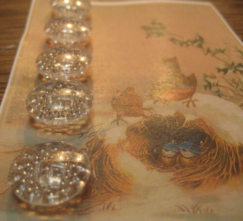 """Set of 6 ~  Vintage 3/4"""" Sparkling Crystal Glass Buttons~PreWWII"""