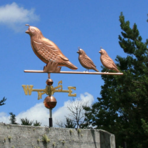 SPECIAL ORDER COPPER 4 QUAIL WEATHERVANE W/ BRASS DIRECTIONALS & ROOF MOUNT