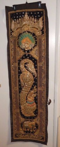 RARE OLD HINDU WOMAN & ELEPHANT EMBOSSED BEADED TAPESTRY PAINTING