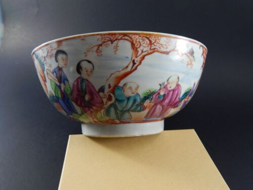 """Antique Chinese Export Famille Rose Mandarin Bowl 18th/19th Century 7 1/4"""""""