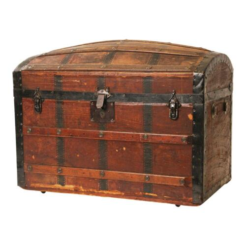 Vintage CAMELBACK TRUNK tray storage chest steamer humpback old wooden antique a