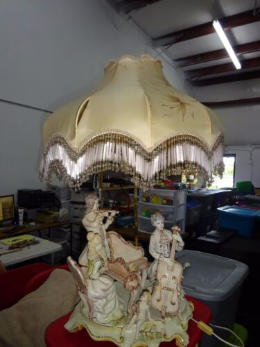 1920's Large Antique Capodimonte Lamp With Custom Shade see description L@@K