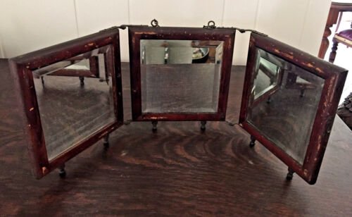Rustic Antique Tri-Fold Bevelled Mirror Brass chain & brass hinges c.Late 1800's