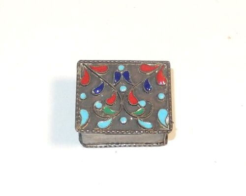 NICE CHINESE STERLING SILVER CLOISONNE ENAMEL PILL SNUFF JAR BOX 92.5